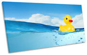 Rubber Duck Bathroom Blue Print Panoramic Canvas Wall Art Picture