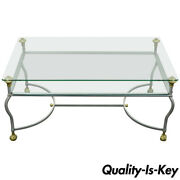 Maison Jansen Style Brass Brushed Steel And Glass Ball And Claw Foot Coffee Table