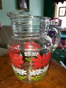 Vintage Hazel Atlas Clear Glass Pitcher White And Red Flowers