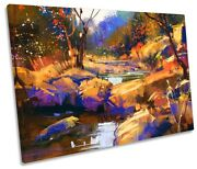 Forest Landscape Abstract Orange Print Single Canvas Wall Art Picture