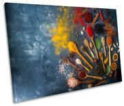 Herbs Spices Spoons Chilli Print Single Canvas Wall Art Picture