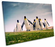 Happy Penguins Print Single Canvas Wall Art Picture