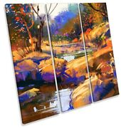 Forest Landscape Abstract Orange Print Treble Canvas Wall Art Square Picture