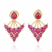 18k Rose Gold 0.76ct Pave Diamond And Ruby Ear Jacket Stud Earrings Fine Jewelry
