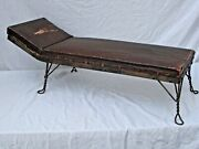 Antique Salesman Sample Chaise Lounge Fainting Couch Twisted Steel Rod Legs