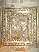 French Country Rooster Cast Stone Backsplash Tile With Matching Stone Frame