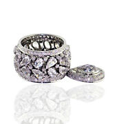 6.8ct Crystal Diamond Wedding Engagement Band Ring 18k Solid White Gold Jewelry