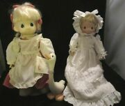 2 Vtg Precious Moments Dolls 16 Patty W/ Goose + Anna W White Gown Stand