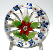 Antique Baccarat Miniature Single Clematis With Millefiori Garland Paperweight