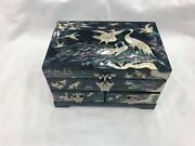 Korean Mother Of Pearl Wood Black Lacquer Oriental Treasure Jewelry Ring Box