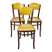 Vintage 1920and039s Fischel Bentwood Cafe Chairs Thonet Bentwood Style - Set Of 3