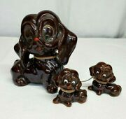 Vintage Artmark Mother Dog And Chained Two 2 Puppies Redware Figurines Japan
