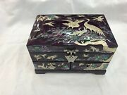 Korean Mother Of Pearl Wood Purple Lacquer Oriental Treasure Jewelry Ring Box