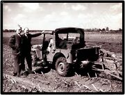 Post War Jeep On The Farm W/ Willys Executives New Metal Sign Toledo Ohio