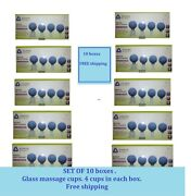 Set Of 10 Boxes X4 Cups Glass Cupping Vacuum Massage Anticellulite Body Suction