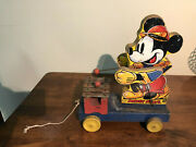 Micky Mouse Wood Mechanical Pull Toy Made In Usa 1939. Amazing Working Condition