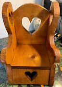 Vintage Hand-made Dollandrsquos Wooden Chair Hearts Motif 12andrdquo High 1960s