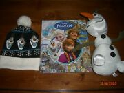 Disney Lot Frozen Pullapart Talking Olaf Plush + Look And Find Book + Beanie Hat