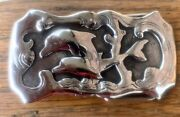 Vinyage Sterling Silver Swimming Dolphins Belt Buckle