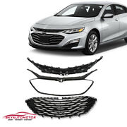 Front Upper Grille Lower Grille For Chevrolet Malibu 2019 2020 Glossy Black 3pcs