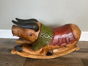Unique Rare Hand Carved Hand Painted Solid Wood Rocking Pig - Made In Thailand