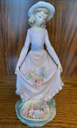 """New Lladro 5027 Flowers In The Basket In Dress Girl W/ Hat Figurine Rare 10"""""""