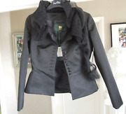 D-due Classy, Exquisite And Elegant Heavy Black Satin Jacket With Mesh Lace Collar