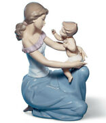 New Lladro 6705 One For You One For Me Mother Feeding Baby Child Lap Figurine