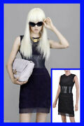 New Versace Embroidered And Patent Leather Dress 38 - 4