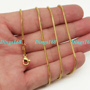 Genuine 18k Yellow Gold Filled Hypoallergenic Classic Shiny Snake Chain Necklace