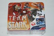 New Marvel Civil War Team Cap 100 Piece Puzzle In Classic Tin Lunch Box. Sealed