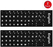 Computer Laptop Keyboard Stickers W Black Background White Large Lettering 2pk