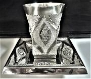 Judaica Israeli Sterling Silver 925 Great Kiddush Cup And Saucer 210.8 G