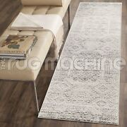 Tyche Silver Grey Ivory Aztec Antique Style Traditional Rug Runner 80x400cm Ne
