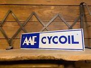 Vintage Porcelain Aaf Cycoil Sign Old Original Gas Pump Advertising Oil Can Gulf