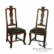 Carson Pirie Scott And Co. Spanish Walnut Pair High Back Side Chairs