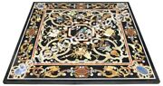 48 Black Marble Top Side Marquetry Table Inlay Floral Outdoor Decor Art
