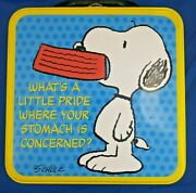 Vintage Peanuts By Schultz Metal Lunch Box Snoopy What's A Little Pride Where...