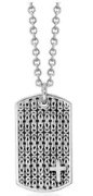 Lois Hill Men's Sterling Silver Necklace Hand Carved Design With Cross - 20