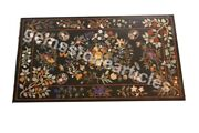 70and039x38and039 Black Marble Top Decorative Dining Table Marquetry Inlay Floral Art