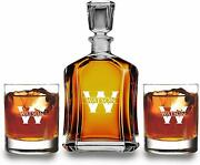 Customized Whiskey Decanter Set - Decanter And 2 Glasses Gift Set - Lead Free