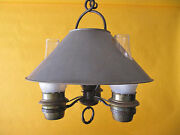 Vintage 1930and039s Monterey Rancho Iron And Brass 3 Light Chandelier Wired