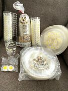 Large Set Retro Sun Glo Plastic Party Ware Dishes Daisy Flowers Plates Cups Mugs