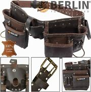 Berlin Oil Tanned Leather Tool Belt Work Pouch Builders Nail Bag Work Apron 11pk