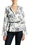 Bagatelle Women's Perforated Floral Zip Front Peplum Jacket Size Small White