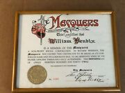 Lou Costello Fred Niblo Very Rare 2x Autographed Masquers Club Membership 1942