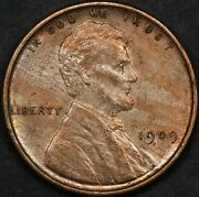 1909 Vdb Lincoln Cent Wheat Penny, Brilliant Red, Gorgeous Tiger Stripe Toning