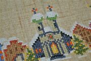 Church And Village Wreath Among Christmas Trees Vintage German Heavy Tablecloth