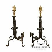 Vintage Forged Iron Pair Andirons With Turned Brass Finials