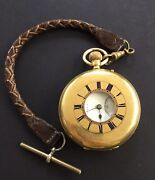 Antiques 18 Ct Solid Gold Half Hunter Pocket Watch By T.s.cogdon And Son